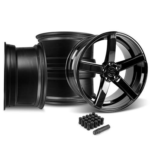 Mustang DF5 Wheel & Lug Nut Kit - 20x8.5/10 Piano Black (15-16)