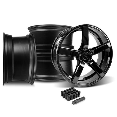 Mustang DF5 Wheel & Tire Kit - 20x8.5 Piano Black (15-16)