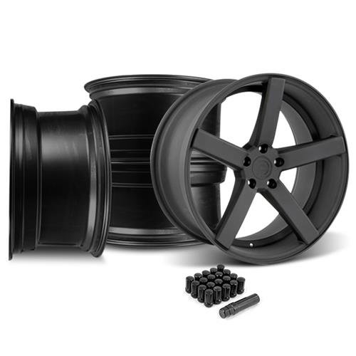 Mustang DF5 Wheel & Lug Nut Kit - 20x8.5/10 Flat Black (15-16)