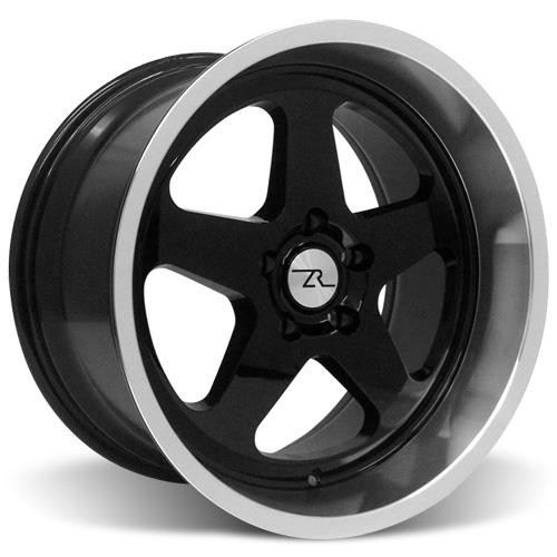 Mustang 17x9/10 Saleen SC Wheel Kit Black w/ Machined Lip (94-04)
