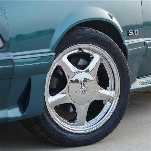 Mustang 5 Lug Pony Wheel Kit - 17x9/10  - Chrome (79-93)