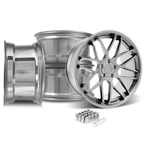 Mustang Downforce Wheel & Lug Nut Kit - 20x8.5/10 Platinum (15-16)