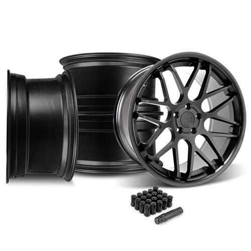 Mustang Downforce Wheel & Lug Nut Kit - 20x8.5/10 Matte Black (15-16)