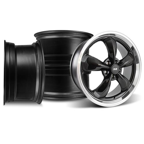 Mustang Bullitt Wheel Kit - 20x8.5/10 Black w/ Mirror Lip (05-17)