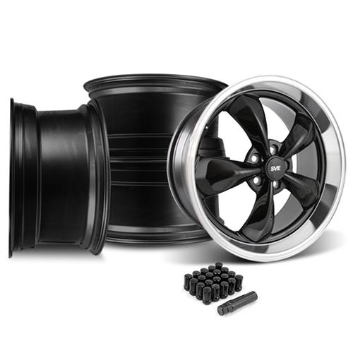 Mustang Bullitt Wheel & Lug Nut Kit - 20x8.5/10 Black W/ Mirror Lip (15-16)