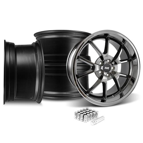 Mustang FR500 Wheel & Lug Nut Kit - 20x8.5/10 Black Chrome (15-17)