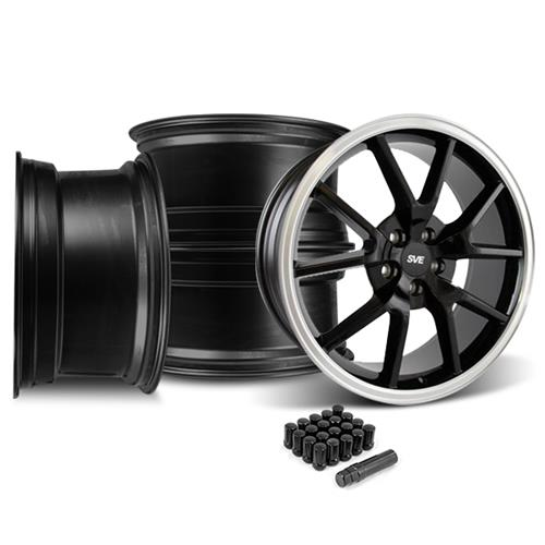 Mustang FR500 Wheel & Lug Nut Kit - 20x8.5/10 Black w/ Mirror Lip (15-16)