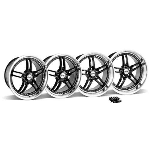 SVE Mustang Series 2 Wheel & Lug Nut Kit - 19x9/10 Black w/ Polished Lip (2015)