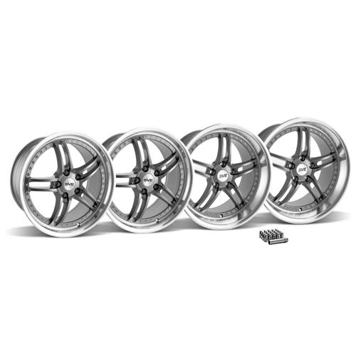 SVE Mustang Series 2 Wheel & Lug Nut Kit - 19x9/10 Gun Metal w/ Polished Lip (2015)