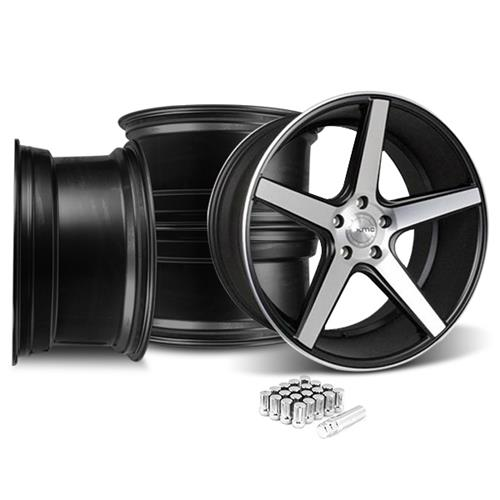 KMC Mustang 685 District Wheel & Lug Nut Kit - 20x8.5/10.5 Black w/ Machined Face (15-16)