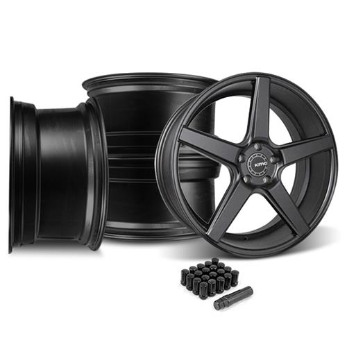 KMC Mustang 685 District Wheel & Lug Nut Kit - 20x8.5/10.5 Satin Black (15-16)