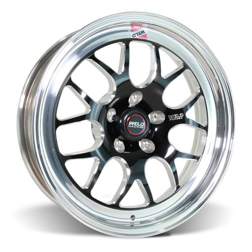 Weld Mustang RT-S S77 Wheel Kit - 17x5/10  - Black w/ Polished Lip (15-20)