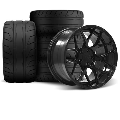Rovos Mustang Pretoria Wheel Kit 18X9/10.5 W/ Nitto NT05 Tires Gloss Black (94-04)