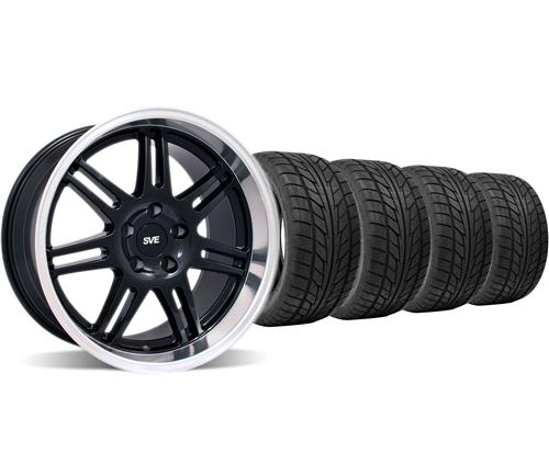 SVE Mustang Anniversary Staggered Wheel & Tire Kit 18x9/10 Black (94-04) Nitto NT555