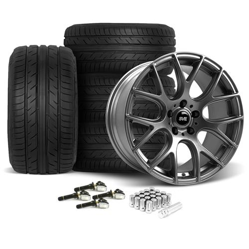 SVE Mustang Drift Wheel & Tire Kit - 19X9.5 Dark Stainless (15-16) Achilles