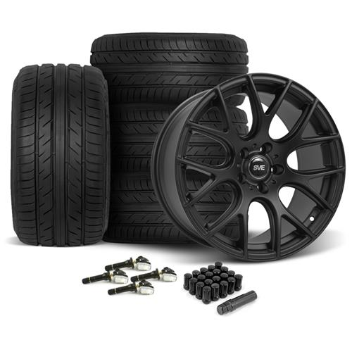 Mustang SVE Drift Wheel & Tire Kit 19X9.5 Flat Black (15-16)
