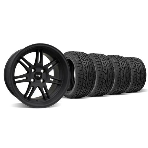 SVE Mustang Anniversary Staggered Wheel & Tire Kit - 17x9/10 Flat Black   (79-93) Nitto NT555