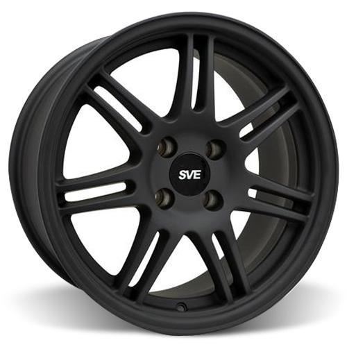 SVE Mustang Anniversary Staggered Wheel & Tire Kit - 17x9/10 Flat Black   (79-93) Sumitomo ZII