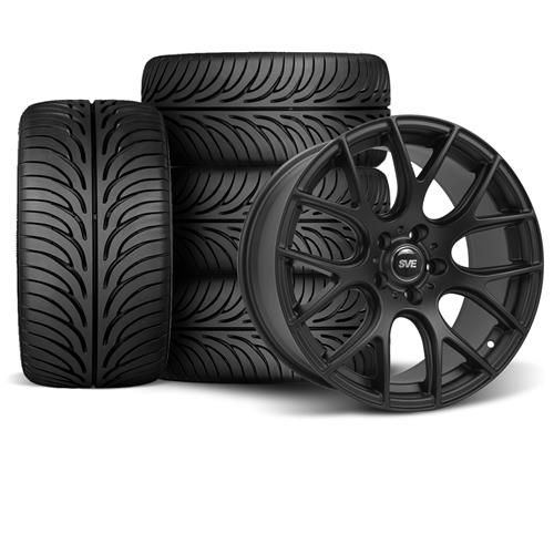 SVE Mustang Drift Wheel & Tire Kit - 18X9/10 Flat Black (94-04) Staggered Sumitomo ZII