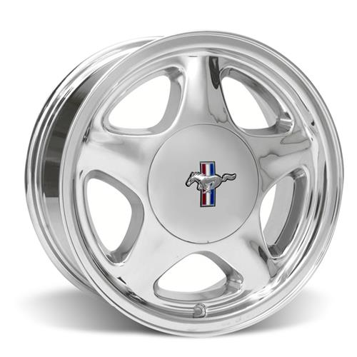 Mustang Staggered Pony Wheel & Tire Kit - 17x8/10 Chrome (79-93) Nitto NT555
