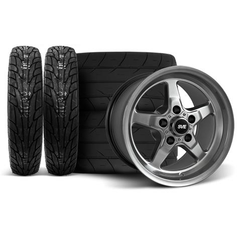 SVE Mustang Drag Wheel & Tire Kit 15X10/17X4.5 Dark Stainless  (94-04)