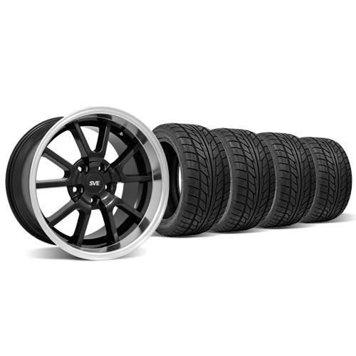 Mustang Staggered FR500 Wheel & Tire Kit - 18x9/10 Black (94-04) Nitto NT555
