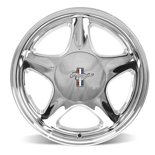 Mustang Staggered Pony Wheel & Tire Kit - 17x9/10  - Chrome - NT555 G2 Tires (79-93)