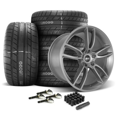 SVE Mustang GT7 Wheel & Tire Kit - 20x10/11  - Satin Graphite - M/T Street Comp Tires (15-17)