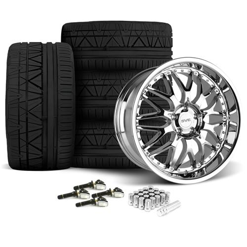 SVE Mustang Series 3 Wheel & Tire Kit - 19x9/10 Chrome (15-16) Nitto Invo