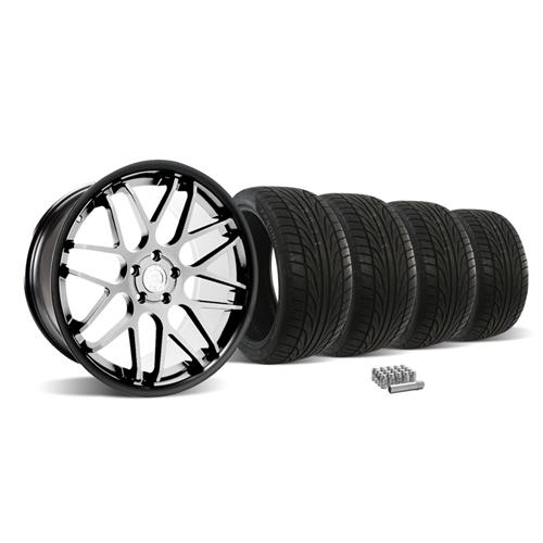 Mustang Downforce Wheel & Tire Kit - 20x8.5/10  Matte Black W/ Machined Face (05-14) Ohtsu