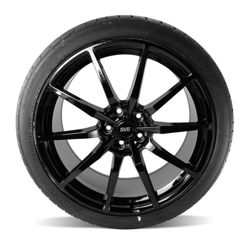 SVE Mustang GT350 Style Wheel & Tire Kit - 20x10  - Gloss Black - Ohtsu Tires (15-16)