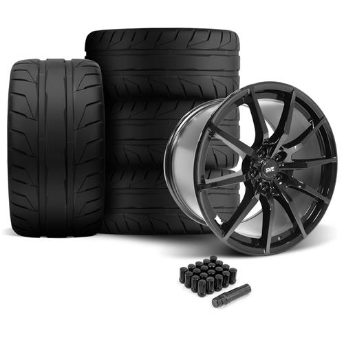 SVE Mustang GT350 Style Wheel & Tire Kit - 19x10/11  - Gloss Black - NT05 Tires (05-14)