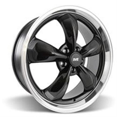 Mustang Staggered Bullitt Wheel & Tire Kit - 20x8.5/10 Black w/ Mirror Lip (05-14) Nitto NT555