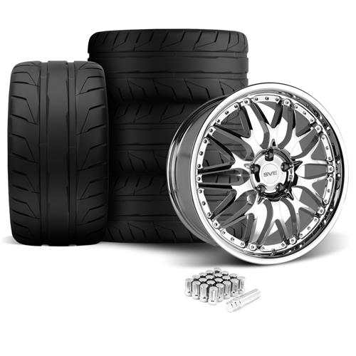 SVE Mustang Series 3 Wheel & Tire Kit - 20x8.5/10 Chrome (05-14) Nitto NT05