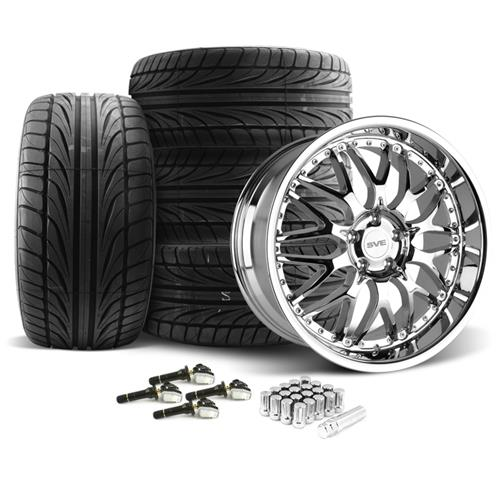 SVE Mustang Series 3 Wheel & Tire Kit - 20x8.5/10 Chrome (15-16) Ohtsu