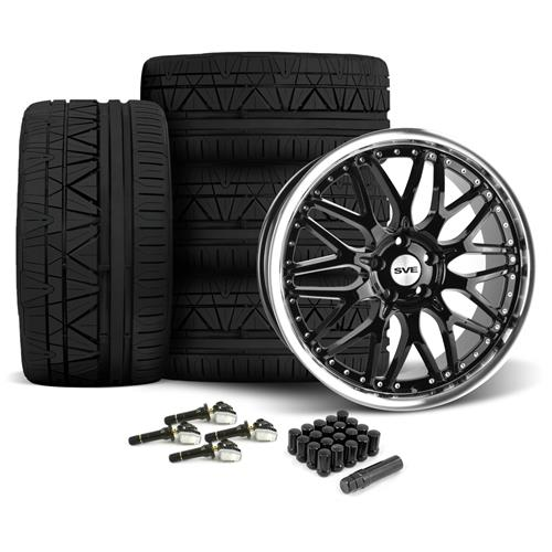 SVE Mustang Series 3 Wheel & Nitto Invo Tire Kit - 20x8.5/10 Gloss Black (15-16)