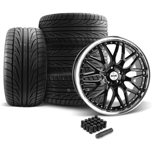 SVE Mustang Series 3 Wheel & Tire Kit - 20x8.5/10 Gloss Black (05-14) Ohtsu