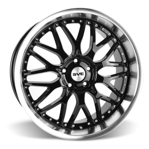 SVE Mustang Series 3 Wheel & Tire Kit - 20x8.5/10 Black w/ Mirror Lip (15-16) Ohtsu