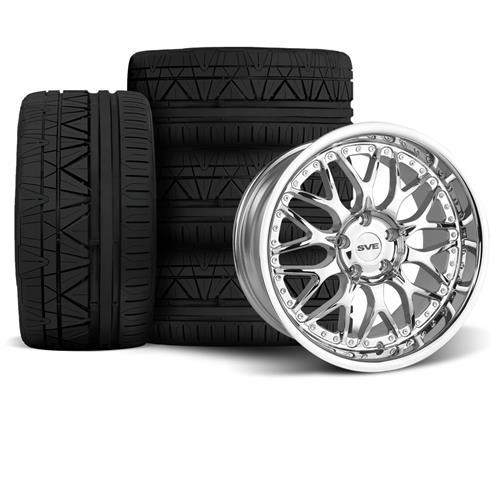 SVE Mustang Series 3 Wheel & Tire Kit - 18x9/10  - Chrome (94-04) Invo