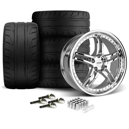 SVE Mustang Series 2 Wheel & Tire Kit - 20x8.5/10 Chrome (15-16) Nitto NT05