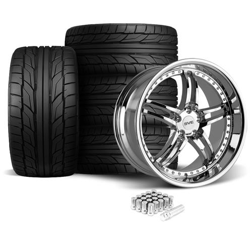 SVE Mustang Series 2 Wheel & Tire Kit - 20X8.5/10 Chrome (05-14) Nitto NT555