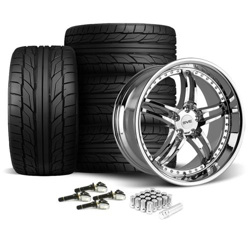 SVE Mustang Series 2 Wheel & Tire Kit - 20X8.5/10 Chrome (15-16) Nitto NT555
