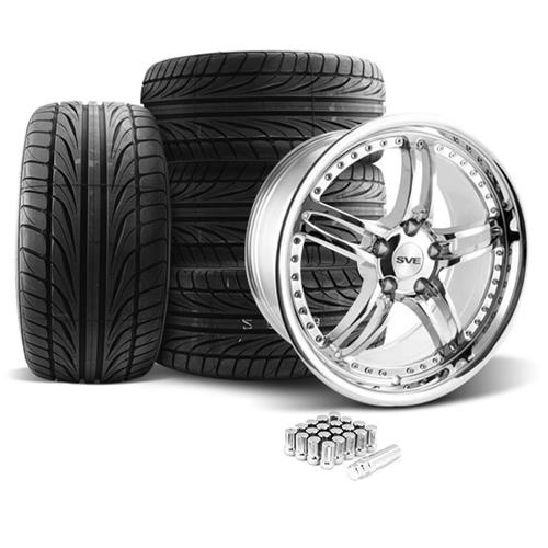 SVE Mustang Series 2 Wheel & Tire Kit - 20X8.5/10 Chrome (05-14) Ohtsu
