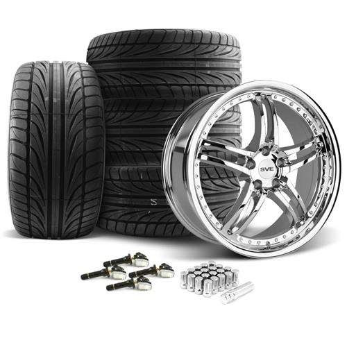 SVE Mustang Series 2 Wheel & Tire Kit - 20x8.5/10 Chrome (15-16) Ohtsu