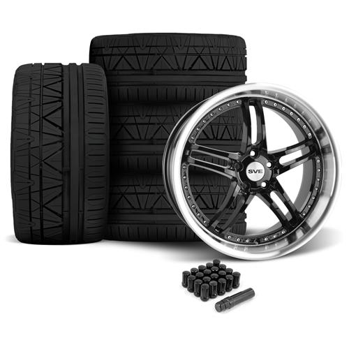 SVE Mustang Series 2 Wheel & Tire Kit - 20X8.5/10 Black w/ Mirror Lip (05-14) Nitto Invo - SVE Mustang Series 2 Wheel & Tire Kit - 20X8.5/10 Black w/ Mirror Lip (05-14) Nitto Invo