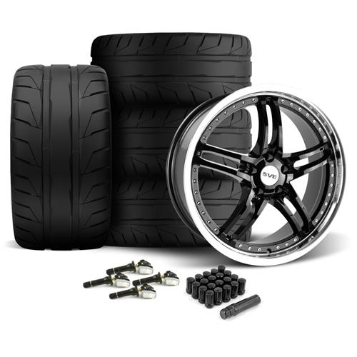 SVE Mustang Series 2 Wheel & Tire Kit - 20x8.5/10 Black w/ Machined Lip (15-16) Nitto NT05