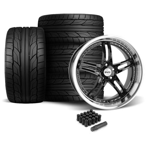 SVE Mustang Series 2 Wheel & Tire Kit - 20X8.5/10 Black w/ Mirror Lip (05-14) Nitto NT555