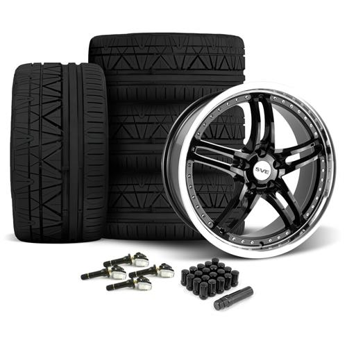 SVE Mustang Series 2 Wheel & Tire Kit - 20x8.5/10 Black w/ Machined Lip (15-16) Nitto Invo