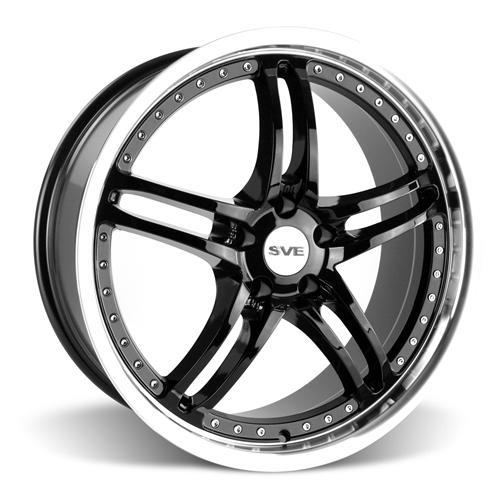 SVE Mustang Series 2 Wheel & Tire Kit - 20X8.5/10 Black w/ Mirror Lip (15-16) Nitto Invo