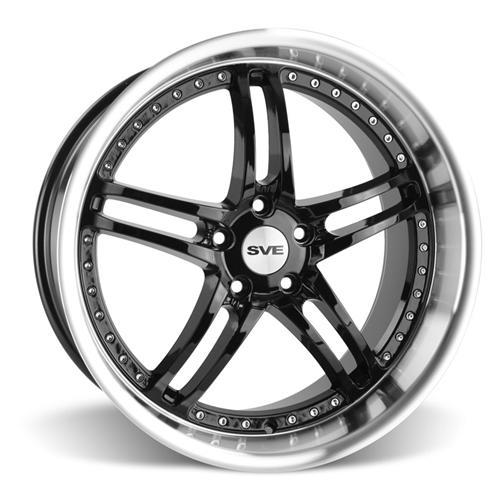 SVE Mustang Series 2 Wheel & Tire Kit - 20X8.5/10 Black w/ Mirror Lip (15-16) Ohtsu
